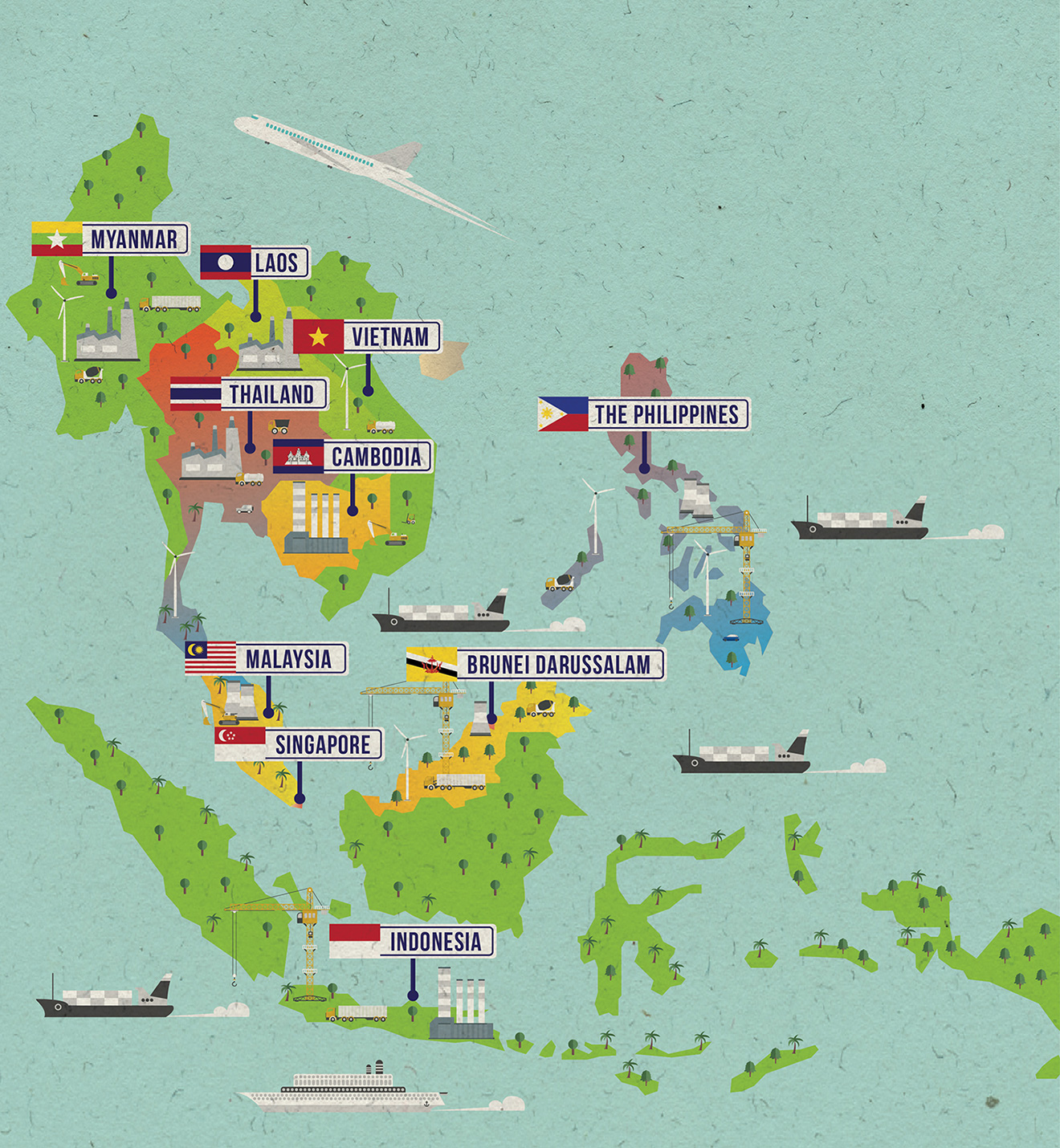 Asian links magazine by aif asean maps tsubaki studio one map shows the countries with each of them highlighting one significant economic activity whereas the other map illustrates iconic buildings that the publicscrutiny Gallery